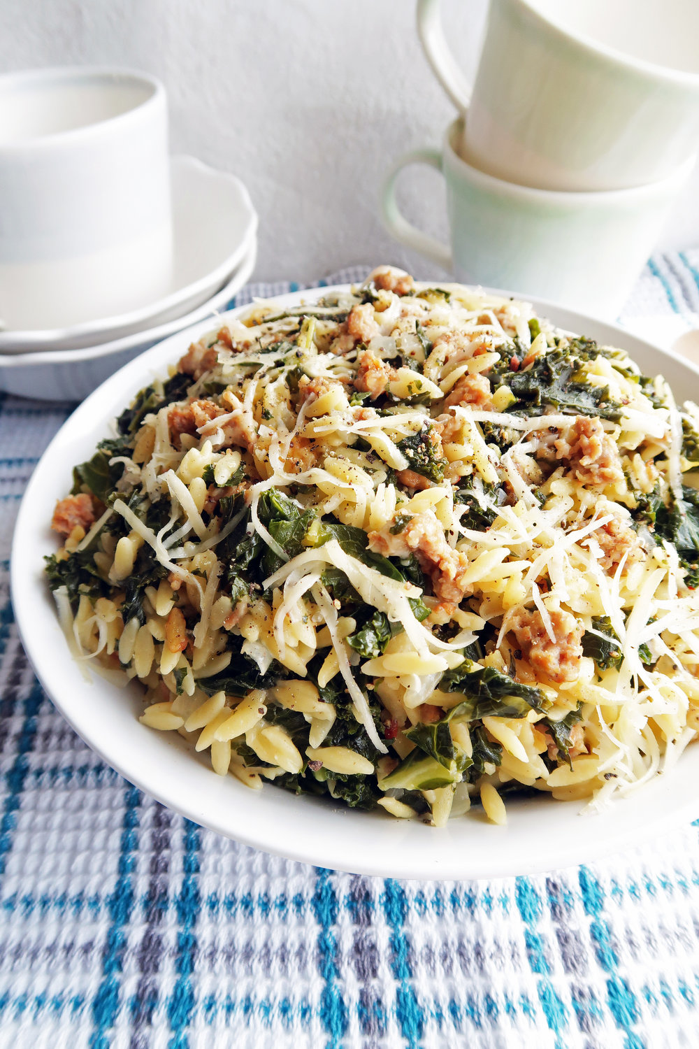 Close-up side angled view of orzo pasta with Italian sausage and kale in a large pasta bowl.