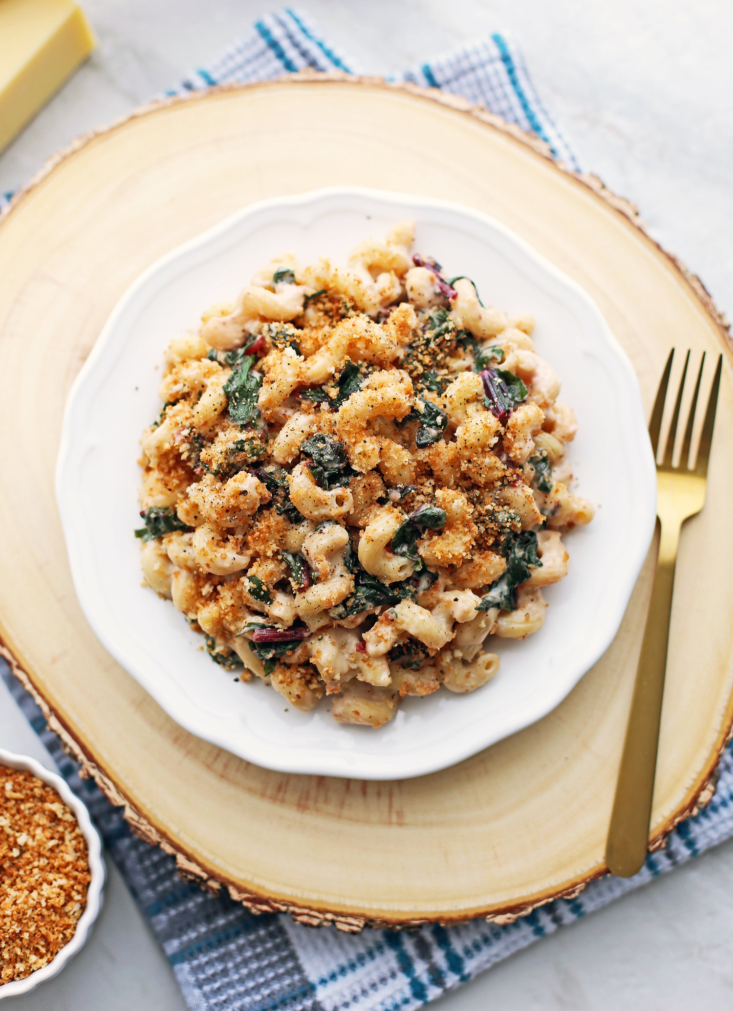 Creamy Gruyere and Swiss Chard Pasta with Toasted Panko Breadcrumbs