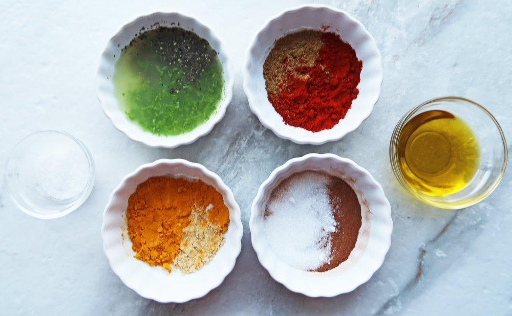 Fours of different spice combinations.