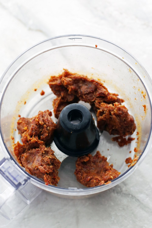 Medjool date paste in a food processor.