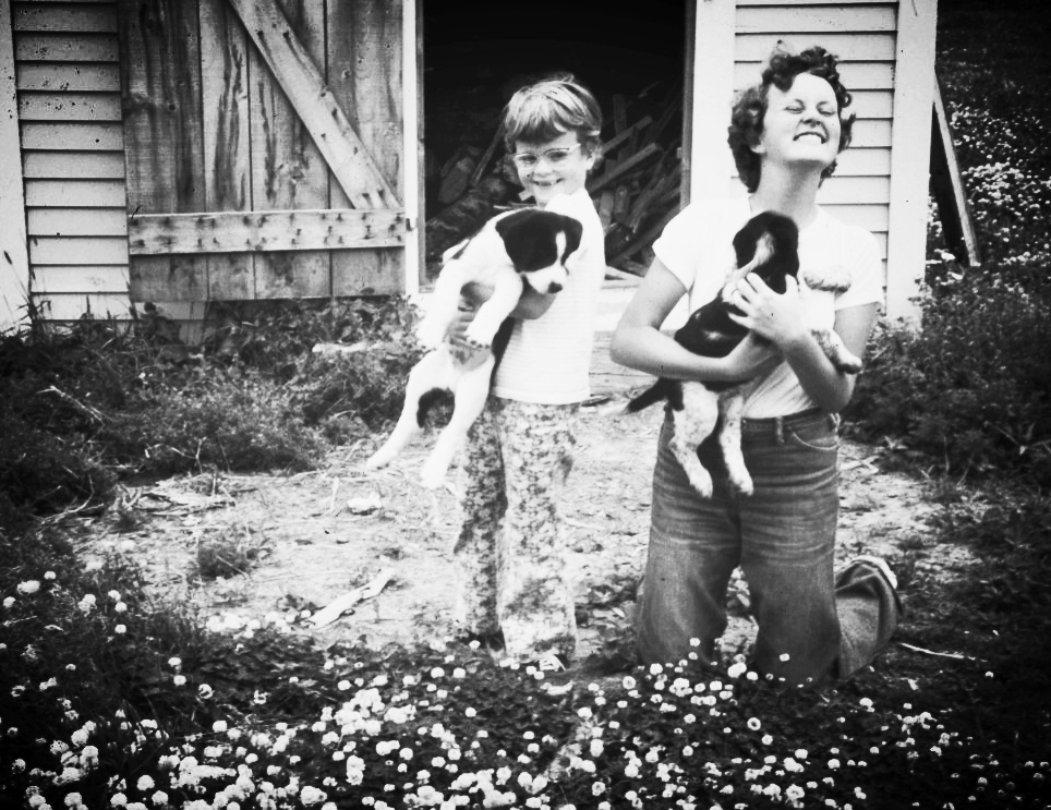 Valerie and Sharon, on a childhood summer vacation, clearly showing an early (and lifelong) enthusiasm for dogs.