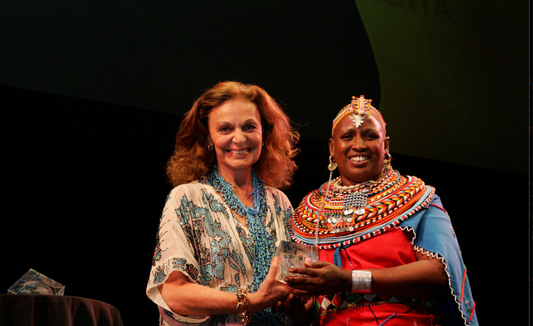 Rebecca Lolosoli receiving an award from Diane von Furstenberg