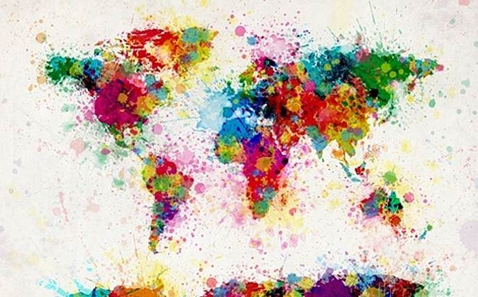 Colorful World Map Handmade Oil Painting On Canvas Wall Art - Colorful world map