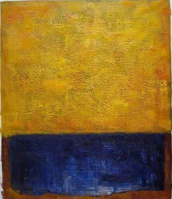 Gold and Blue - Handmade Oil Painting on Canvas - Wall Art ...