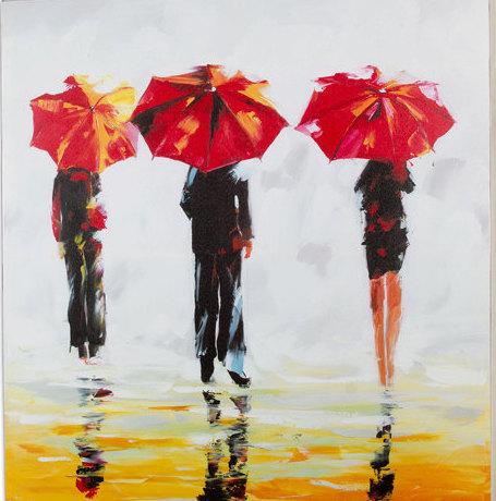 Umbrella Strangers - Handmade Oil Painting on Canvas - Wall Art ...