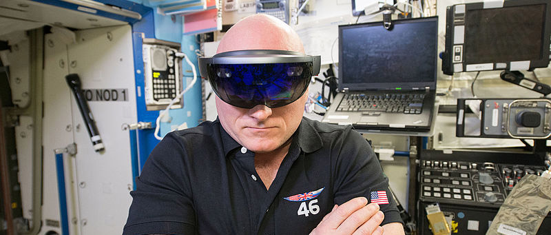 Scott Kelly with HoloLens in the Destiny lab