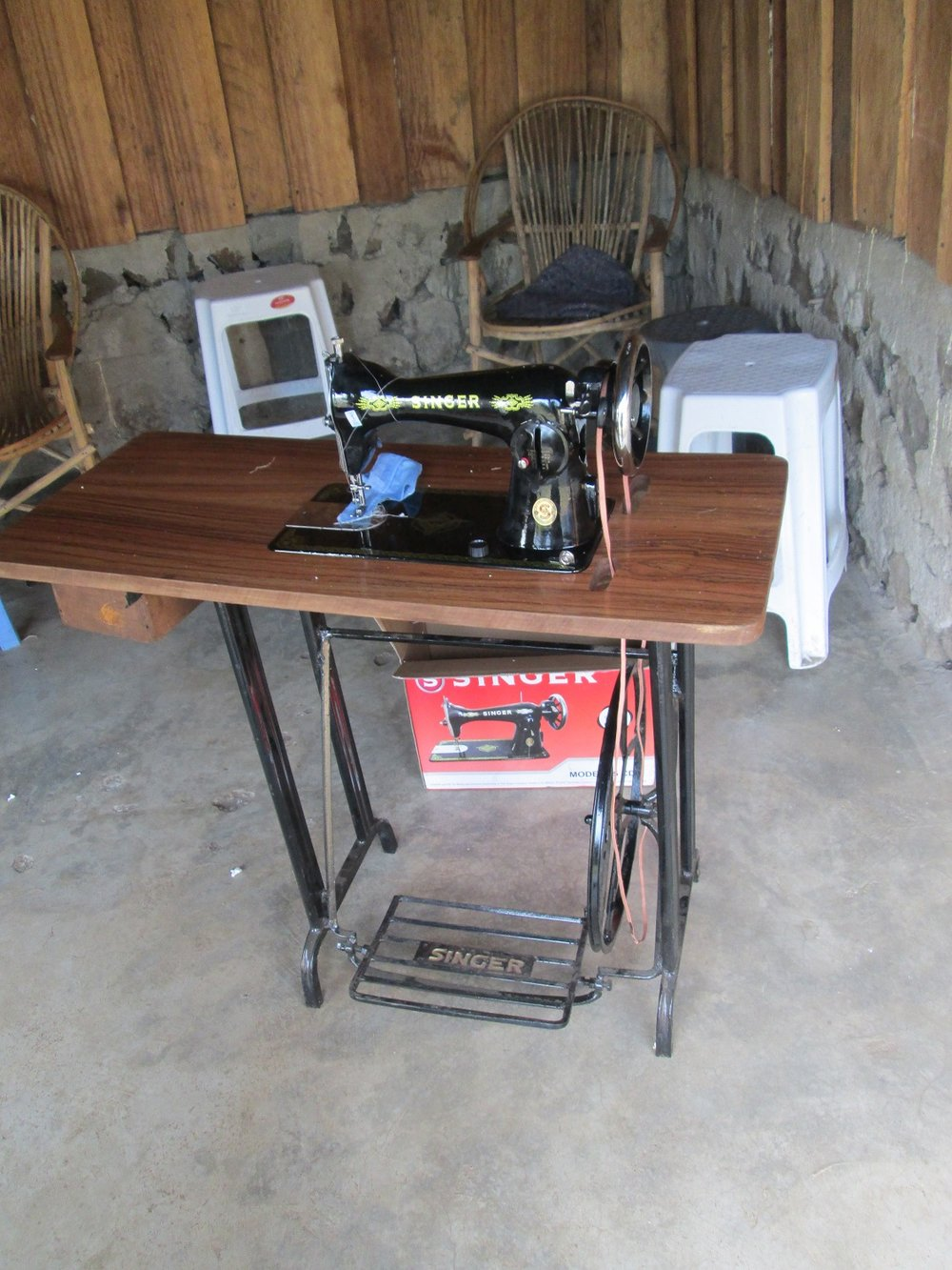 Sewing machine provided via donations