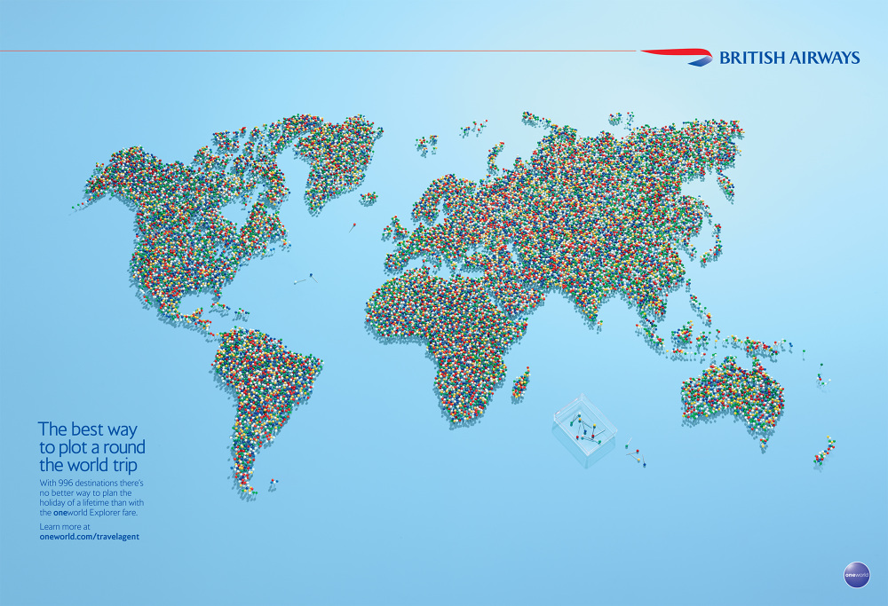 British airways print sarah musker with bas one world explorer fare you can go pretty much anywhere to demonstrate we model made a world map out of real map pins and it was nominated for gumiabroncs Images
