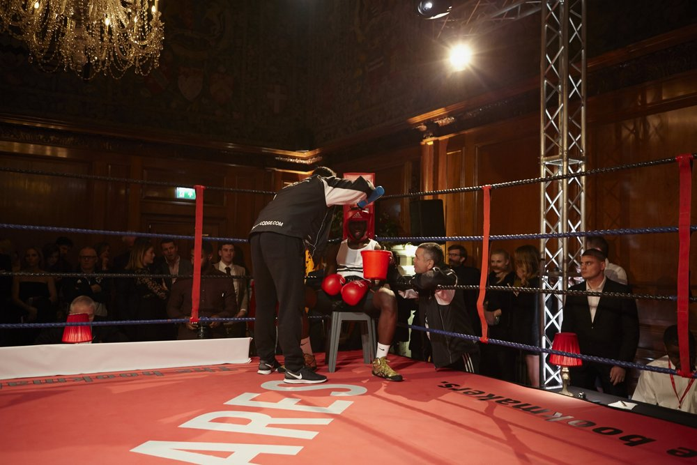The bouts took place in The Ned's sixth floor hall beneath antique tapestries and lavish chandeliers