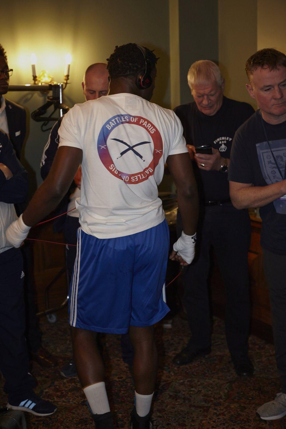25-bout veteran Jonathan Kumuteo of Finchley ABC prepares to leave the dressing room