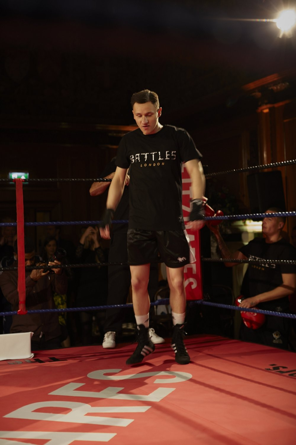 Kumuteo's opponent Charlie Wincott of south London's Lynn Boxing enters the ring