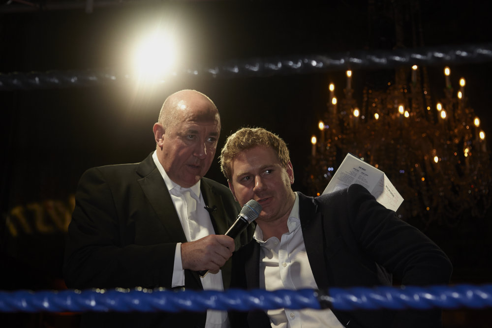 Fitzdares' Charles Hall and veteran boxing reporter Steve Bunce announce the Boxer of the Night