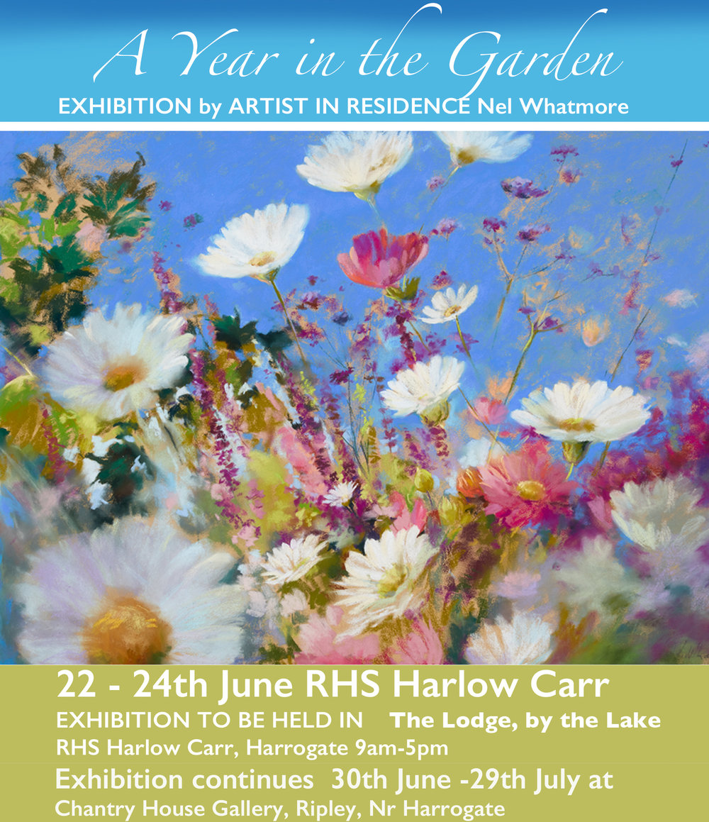Well it's all done and dusted and I will be at Chantry House Gallery on Saturday  from 11-5pm so if you want to go somewhere cool and colourful then do pop in! The flower show was great but now I have moved the exhibition to Chantry House where it will be on for month. there are also some other paintings that weren't at the flower show for you to see. I am hoping to have a bit of a rest soon...well in August actually, as it has been a very busy year. But we do have two courses to run first down in Devon and at the Centre of England Arts centre at Hampton in Arden before that. If you want information then please email me nelartforliving@yahoo.com  I do hope your gardens are not looking as fried as mine but they probably are. It is always too much l hassle to get the hose out so it means far too many watering can trips. My plants are just not used to being lasered!!   Later in the year I am heading up to Achiltibuie on the west coast of Scotland with three friends to go and paint which will be an adventure. I am hoping that the gazillion midges will have died by then fingers crossed. It is currently like an absolute sauna in my studio so no painting is being done at all. Although I am getting rather itchy fingered to get stuck into doing some more abstracts shortly.  Anyway I hope you are all not melting and if you do by chance have a spare minute then please leave a comment as sometimes one does feel as though  ones is  rambling to  oneself when actually, on this occasion, I am avoiding cleaning my very dirty studio as I am thinking I may have to do it naked as it's so hot. And REALLY NO ONE WANTS TO SEE THAT! But hey I am at the top of the house and no one can see, it would just mean that any dash to answer the door may not happen ! I would so rather be cold than hot always.