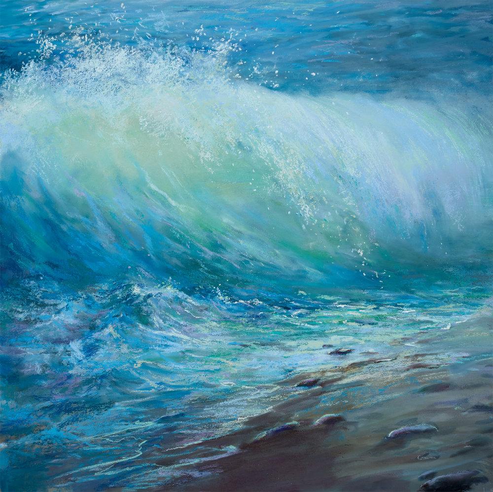 Emerald Wave £1995 Pastel Painting Size 70cm x 70cm