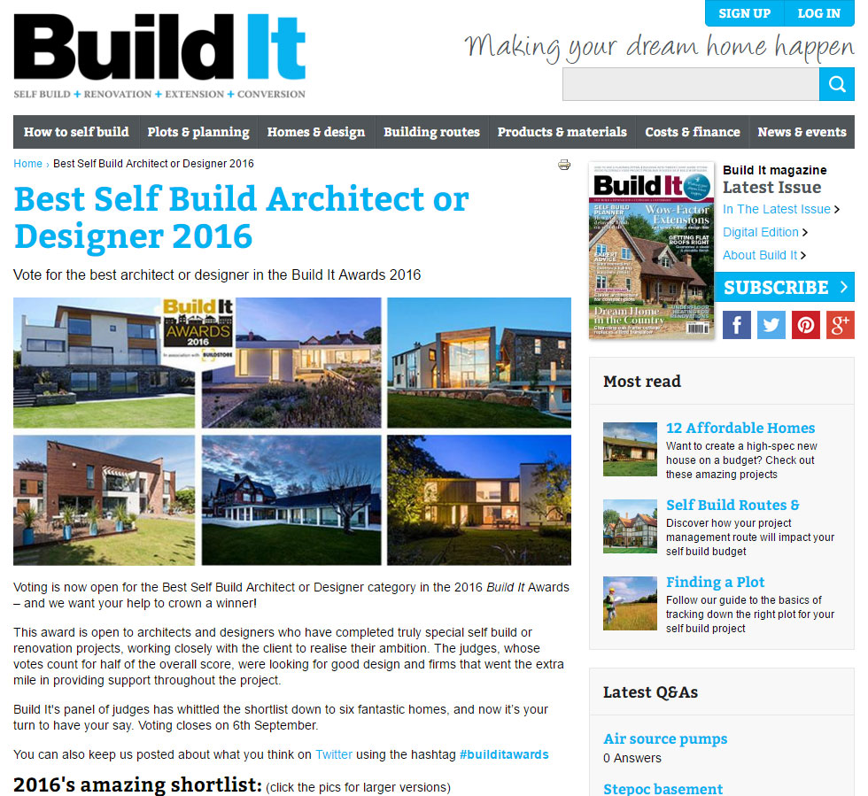 Nomination: Best Self Build Architect Or Designer 2016 / September 7, 2016  By Joe Bamber