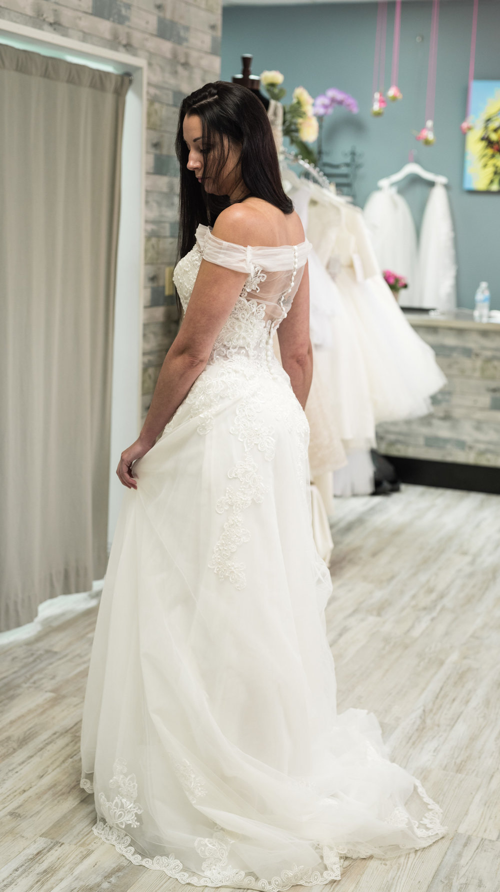 chiffon off shoulder wedding gown