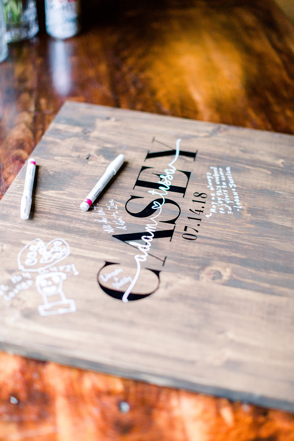 Personalized wooden guestbooks  Photo by  Caley Joy Photography