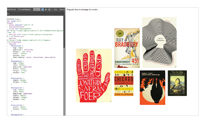 Interactive prototype of the cover library view.