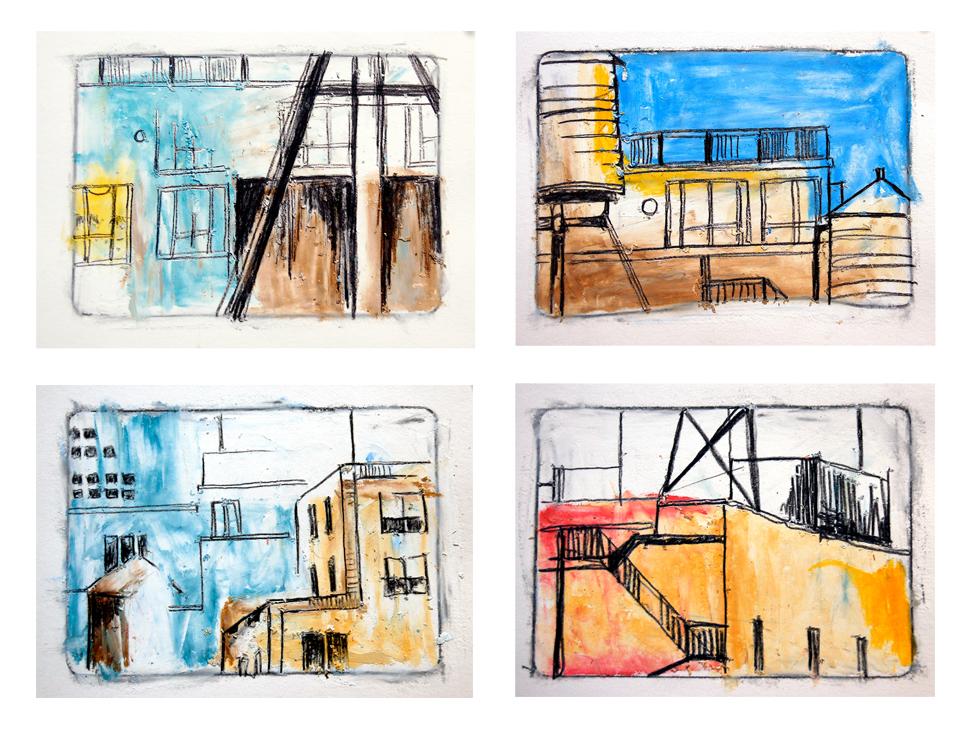 Pastel thumbnail drawings.