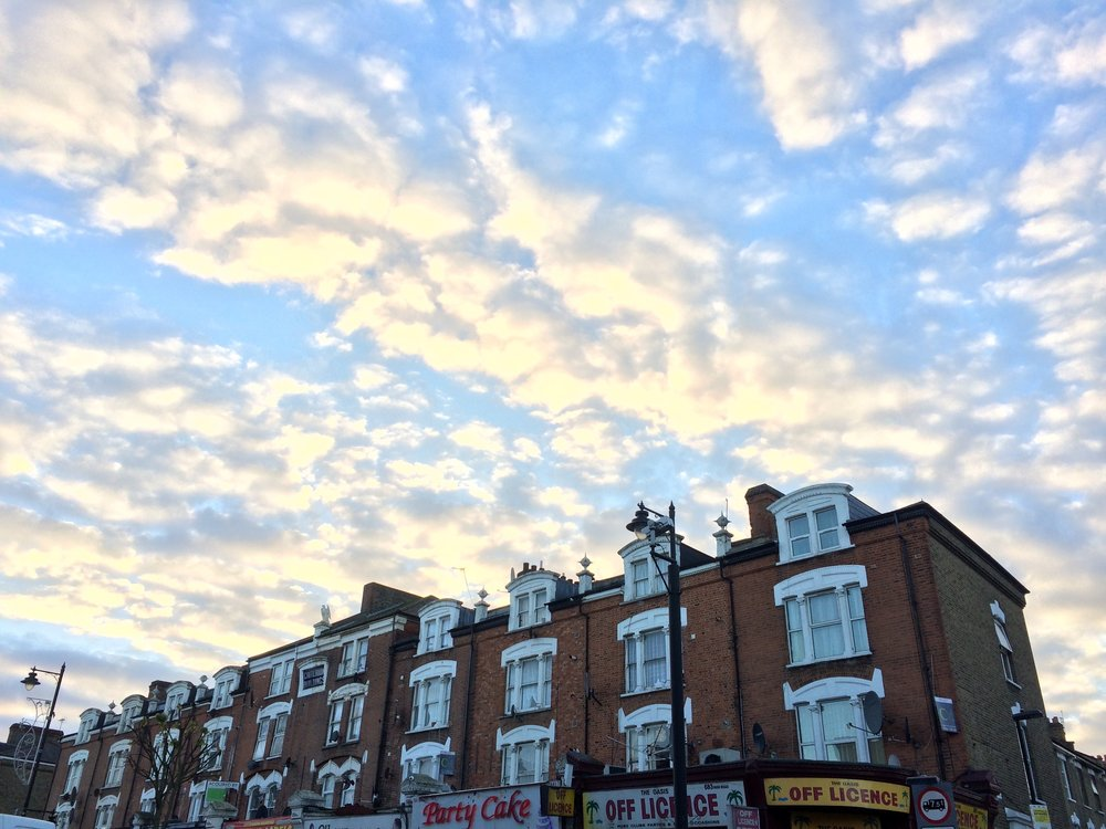 My meditation classes have always compared observing your thoughts to observing the movement of the clouds. You can always watch them, but don't hold on to them too tightly as they float on by. Tottenham, London, 2016.