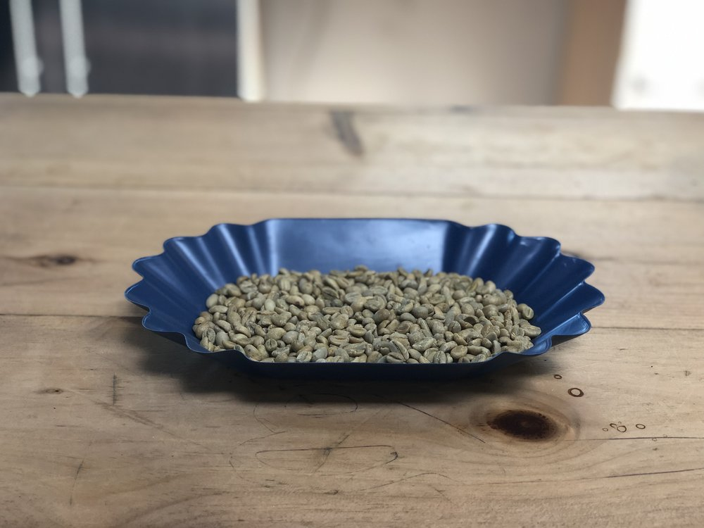 A 300 gram sample of green coffee