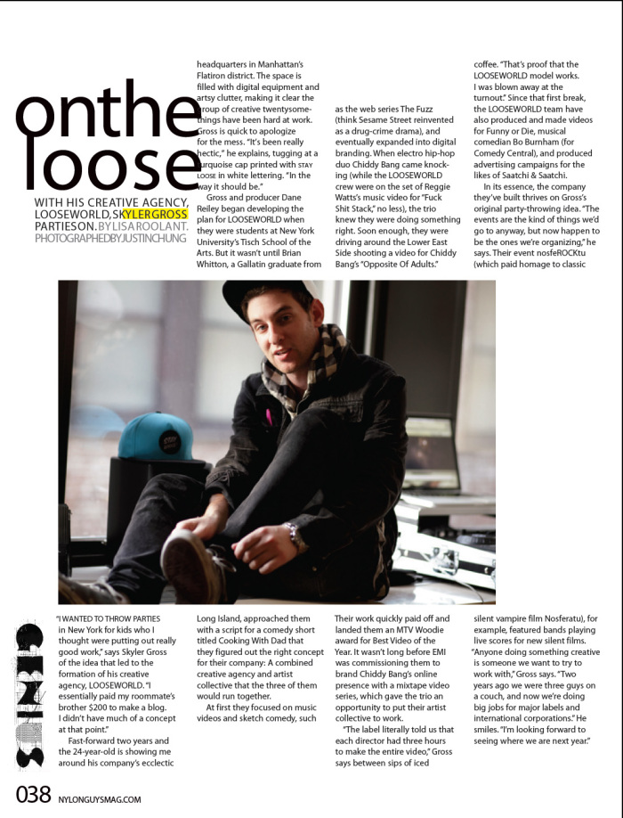 NYLON Guys Magazine, August/September 2011. Genius Profile, full page spread.