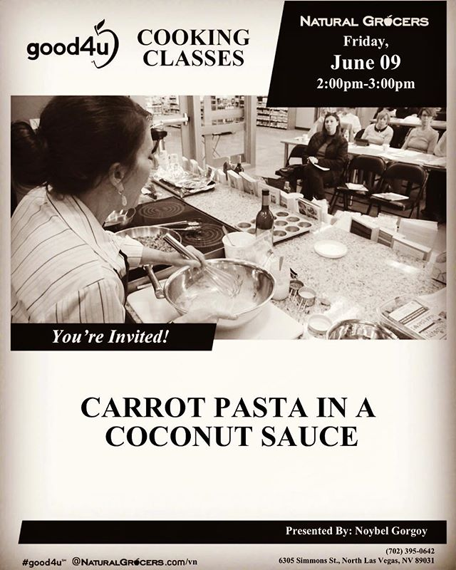 ATTENTION my Las Vegas Plant Based lovers.  I will be teaching on the 9th at the North Las Vegas Natural Grocers and the 10th of this month at the Henderson Location. I can't wait to share with all of you my Plant Based Carrot 🍝 featured in my new cookbook 👆📖 !!!!! Stay healthy 🌿!!!!!! #noybelskitchen #plantpusher #plantbasednutrition #classes #cookingdemo #cookingclass #lasvegas #lasvegaslocal