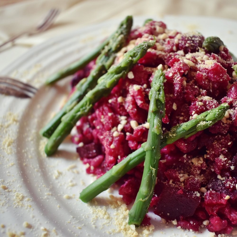Vegan beetroot an white wine risotto recipe