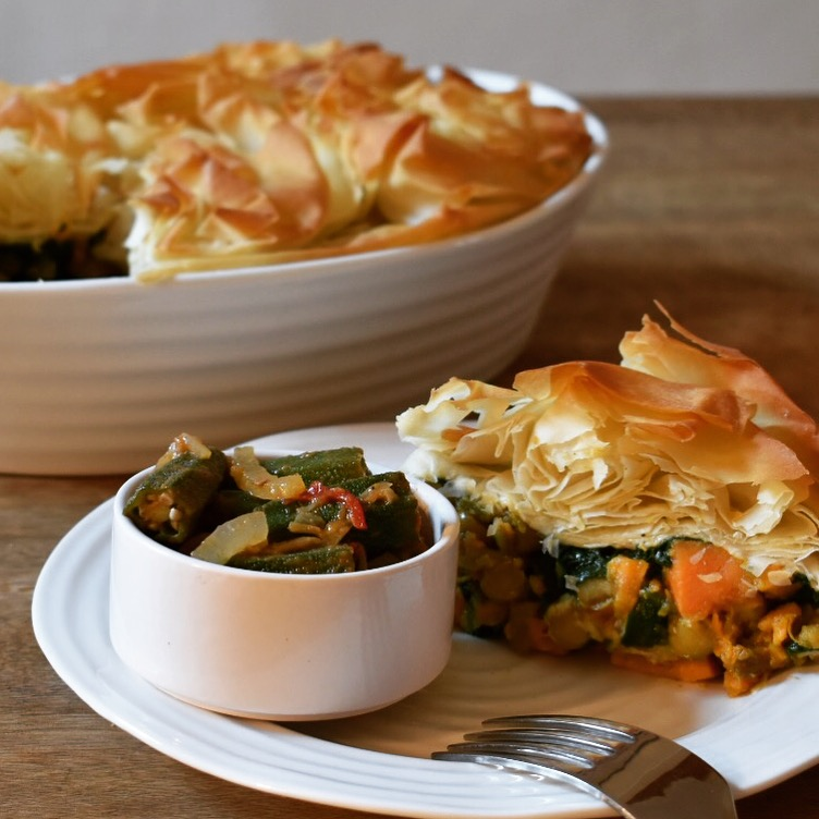 Vegan curried sweet potato, chickpea and spinach filo pie recipe