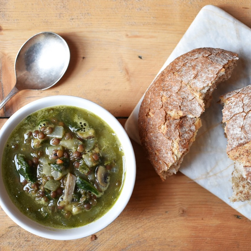 Vegan lentil, mushroom, spinach and tarragon soup recipe