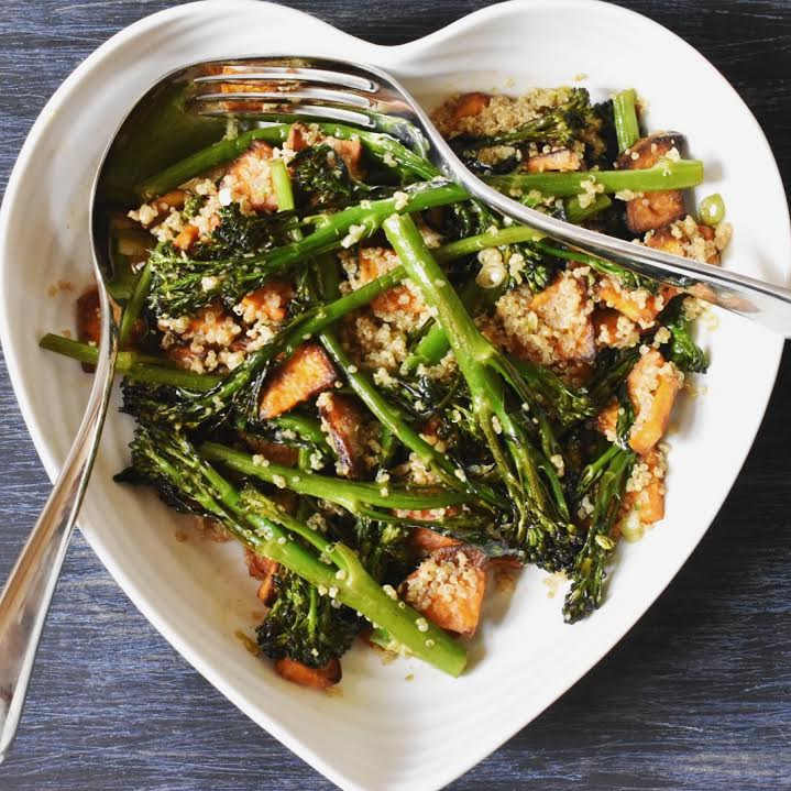 Vegan roast broccoli and quinoa salad with Asian dressing recipe