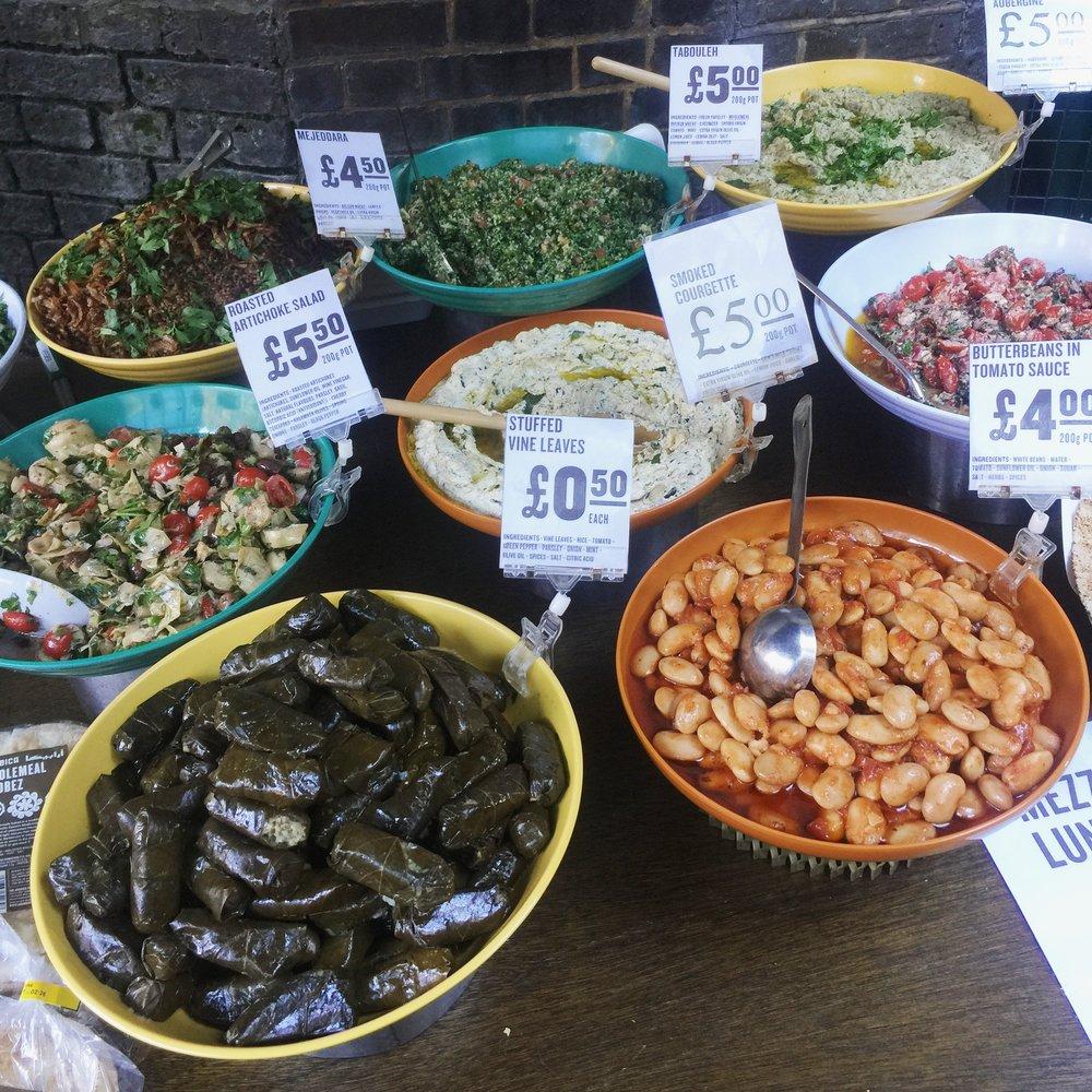Vegan meze dishes at Borough Market