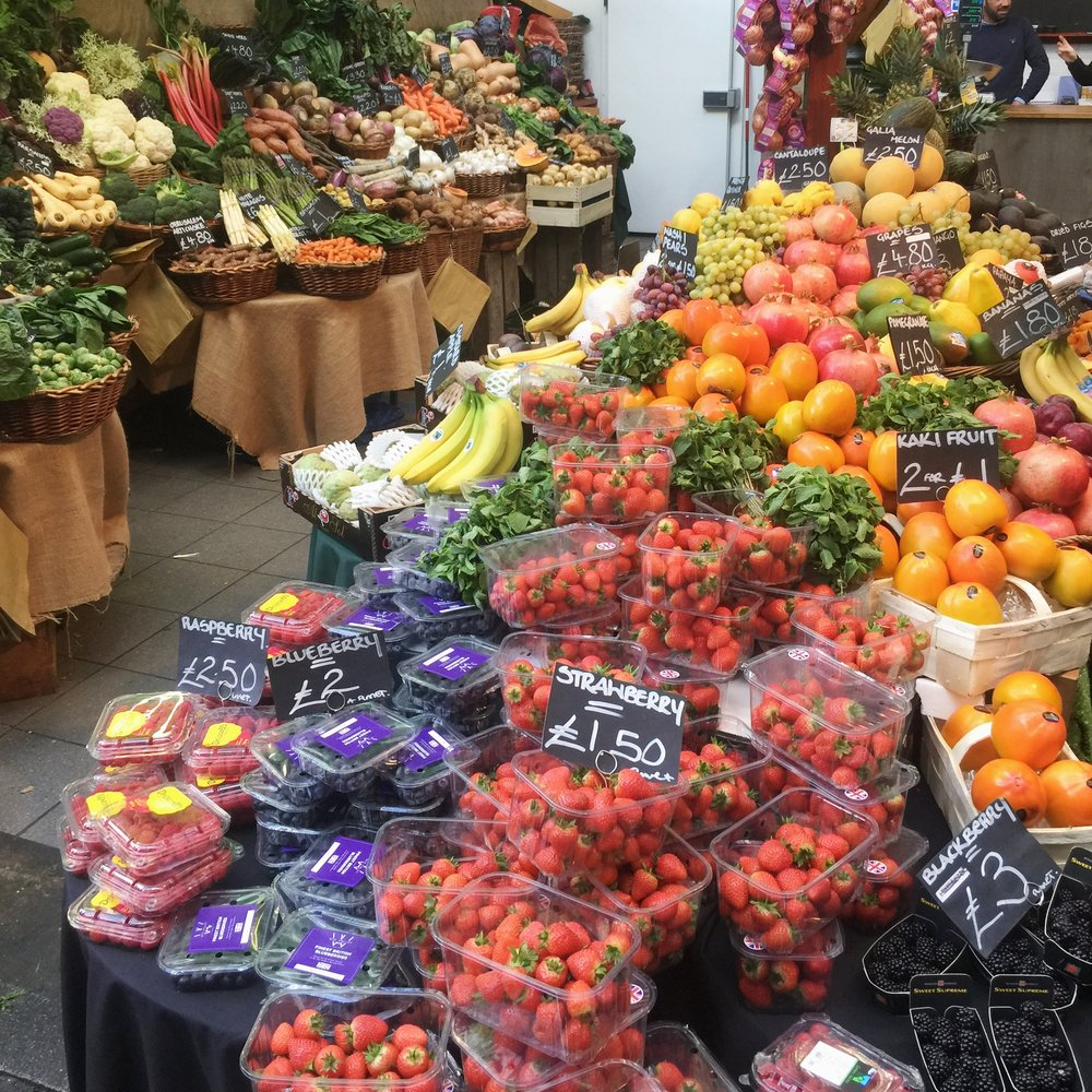 Vegan produce you can take home from Borough Market include fresh fruit and vegetables