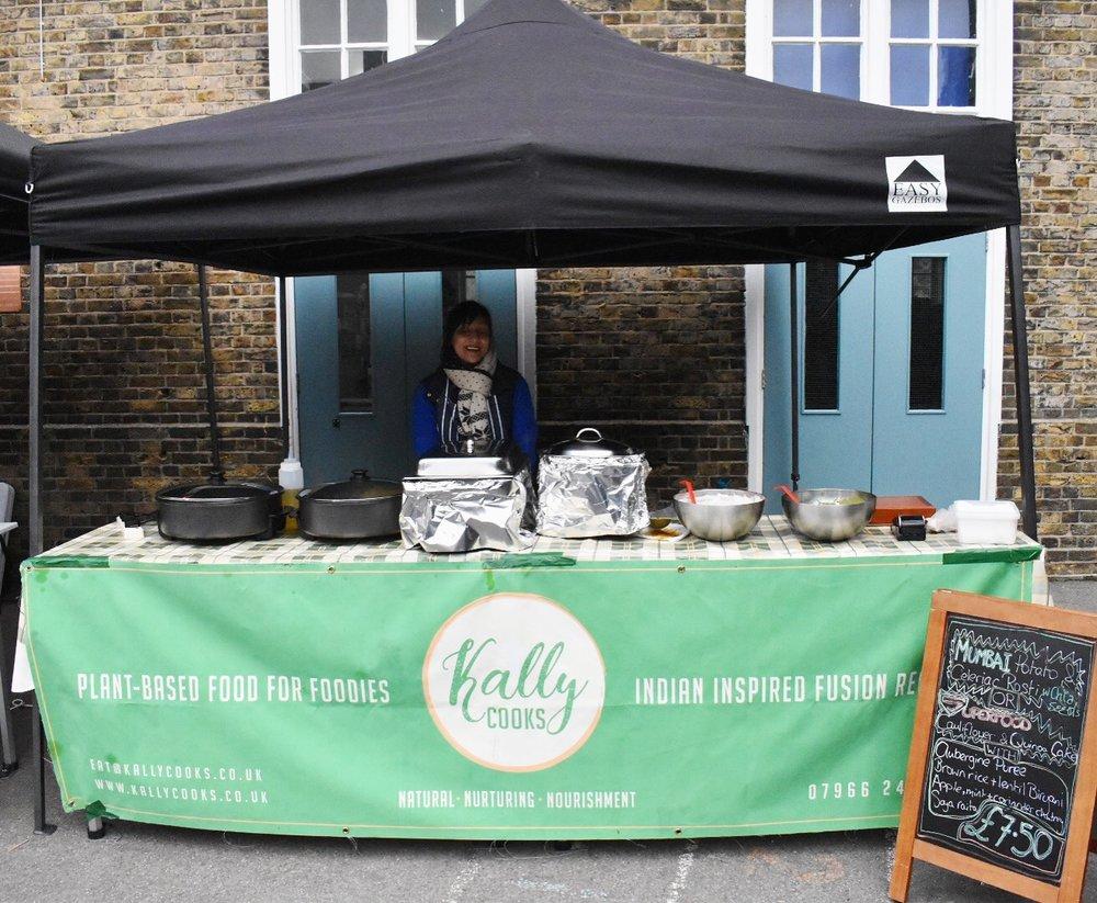 Kally Cooks stall at Broadway Vegan Market