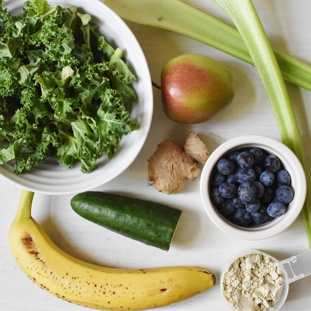 Ingredients for a healthy vegan smoothie high in protein recipe