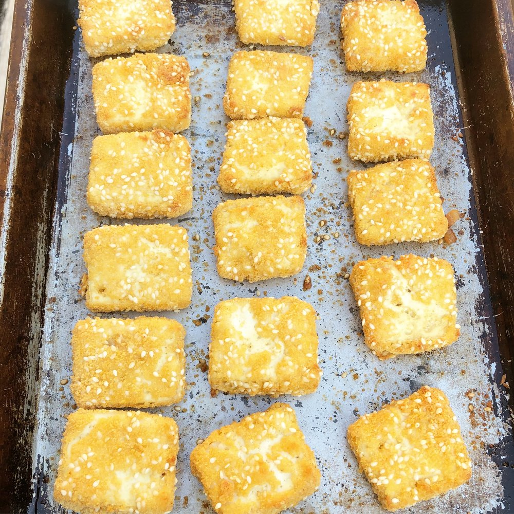 vegan healthy crispy sesame coated baked tofu recipe