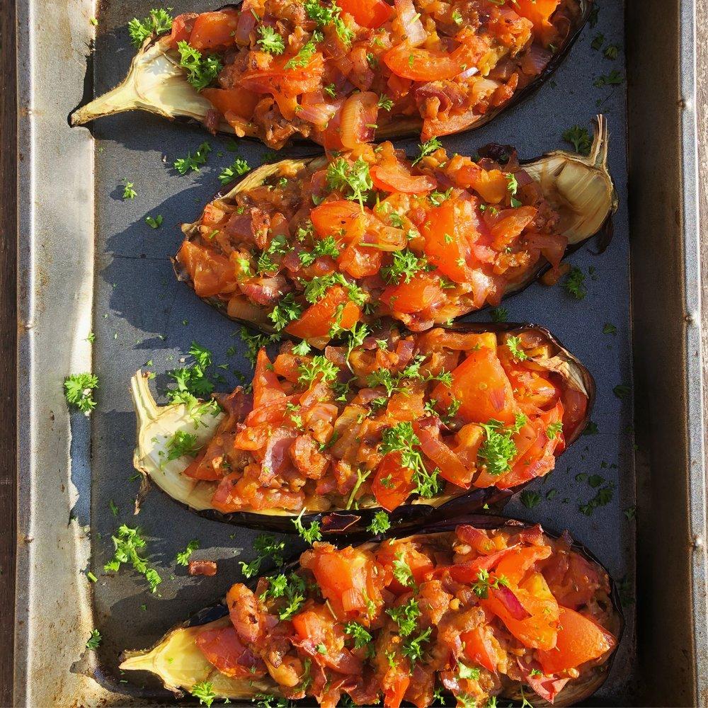 vegan and vegetarian aubergine eggplant imam bayildi recipe healthy turkish food