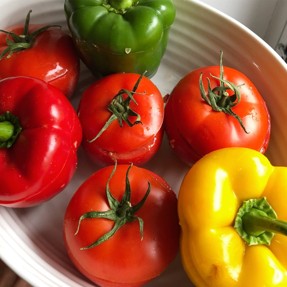 vegan gemista recipe greek rice stuffed peppers and tomatoes vegetarian healthy quick easy