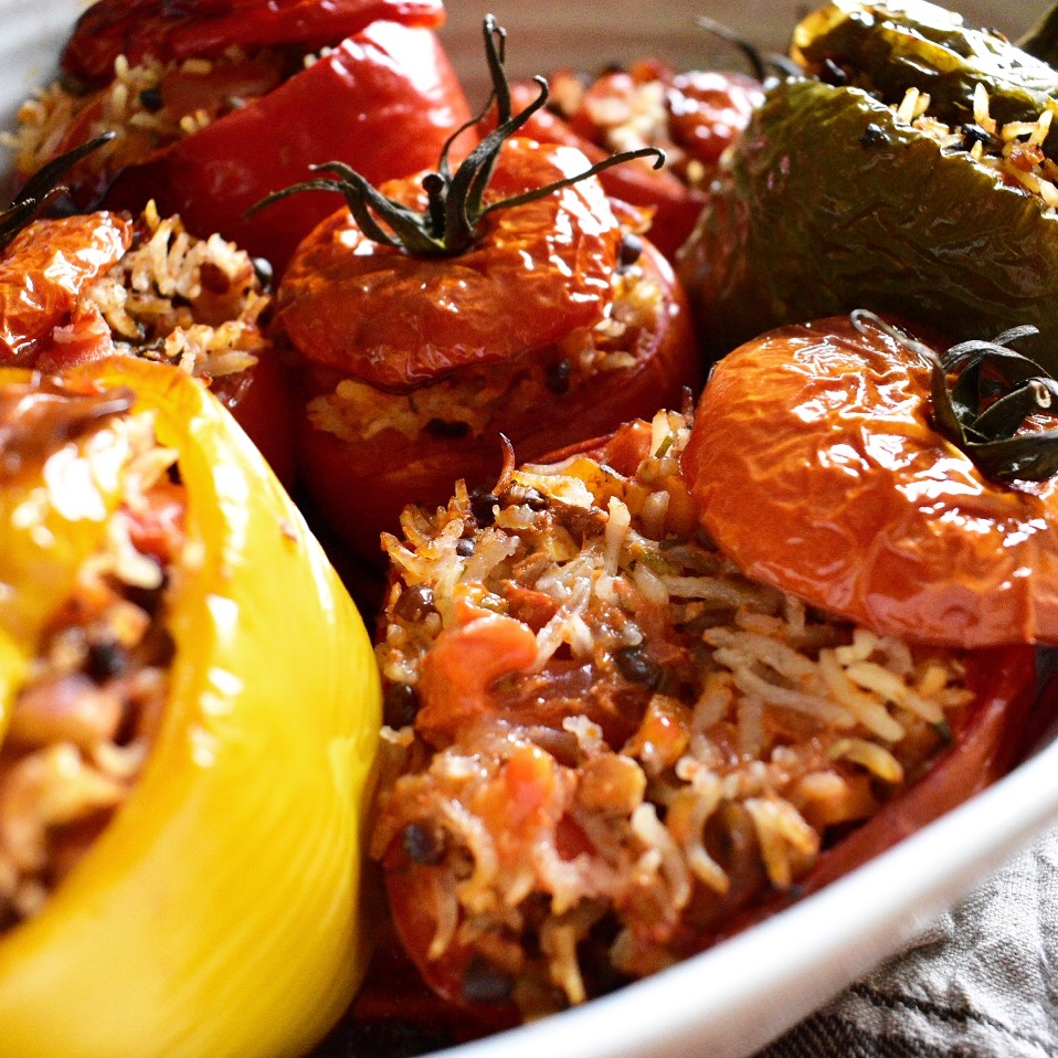 vegan gemista recipe greek stuffed peppers and tomatoes with rice and lentils quick healthy and easy