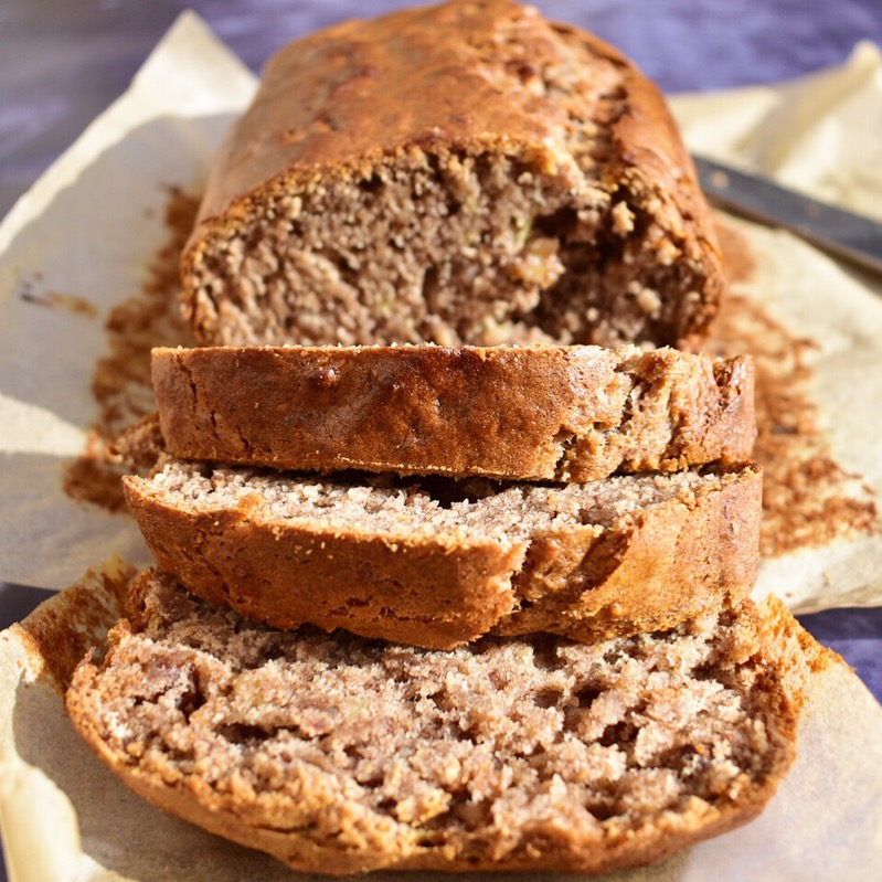 warm out of the oven - vegan banana bread cake loaf recipe easy quick and healthy