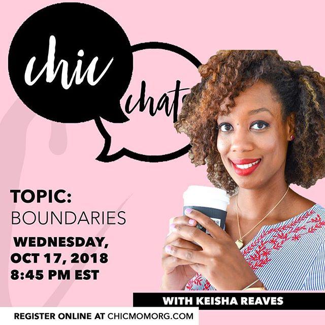 #CHICmoms we have some amazing #chicchats lined up to end the year strong!!!! Save the date for October chat with Keisha Reaves founder of @pushthrubox and licensed counselor! :: We're talking boundaries! Yess mamas time to create some! Also membership is now open for our local & global members! #CHIC Chats are for members only, we have tons of fun, and we learn quite a bit too! Join us 👯‍♀️ :: Save the Date!  #chicmom #chicchat #boundaries #selfcare #mamastrong #empoweringmamas #motherhood #motherswholift