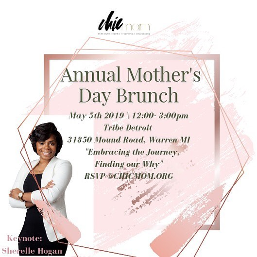 As promised, ticket sales are LIVE! Our annual Mother's Day brunch is always an amazing time for Mothers to connect, learn from eachother and toast to our journey! This year we're happy to have @sherellehogan as our keynote speaker, hosted at the oh so CHIC @tribedetroit ! : Tap link to purchase your ticket! See you mamas soon! 🥂 #CHICmom 💕