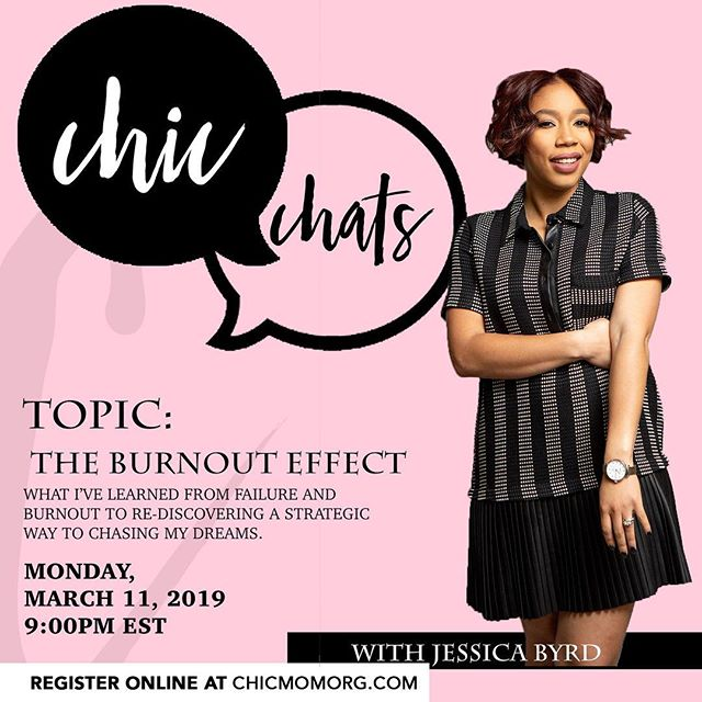 Our next #CHICCHAT our founder is coming from behind the interview chair and talking about something that has been near and dear on her heart, BURNOUT! : We know this isn't the most popular topic in a do it all, be it all now society, but for moms this is something that we must discuss. It's going to get raw (trying to hold back tears) of the reality of trying to chase dreams while holding a family down. It ain't easy y'all ❤️ : To join us simply click the link and register. Don't forget to enter in your specific questions. This CHIC CHAT is open to non members for only an exclusive time. See you soon!