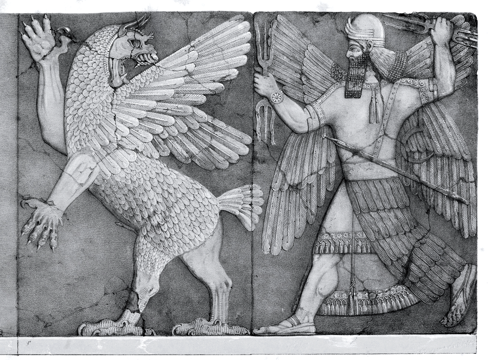 The Babylonian god Marduk fights the chaos monster Tiamat.