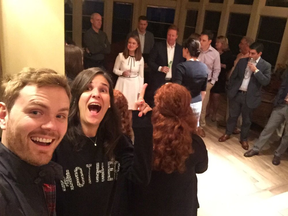 We arrived late and straight from the airport to the rehearsal dinner but we managed to get a selfie of the rehearsing action.