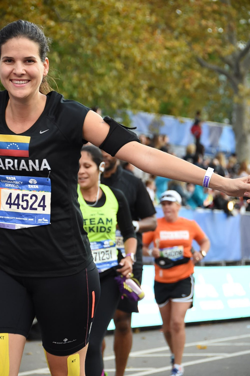 Olivia and I about to cross the finish line at the 2015 NYC marathon