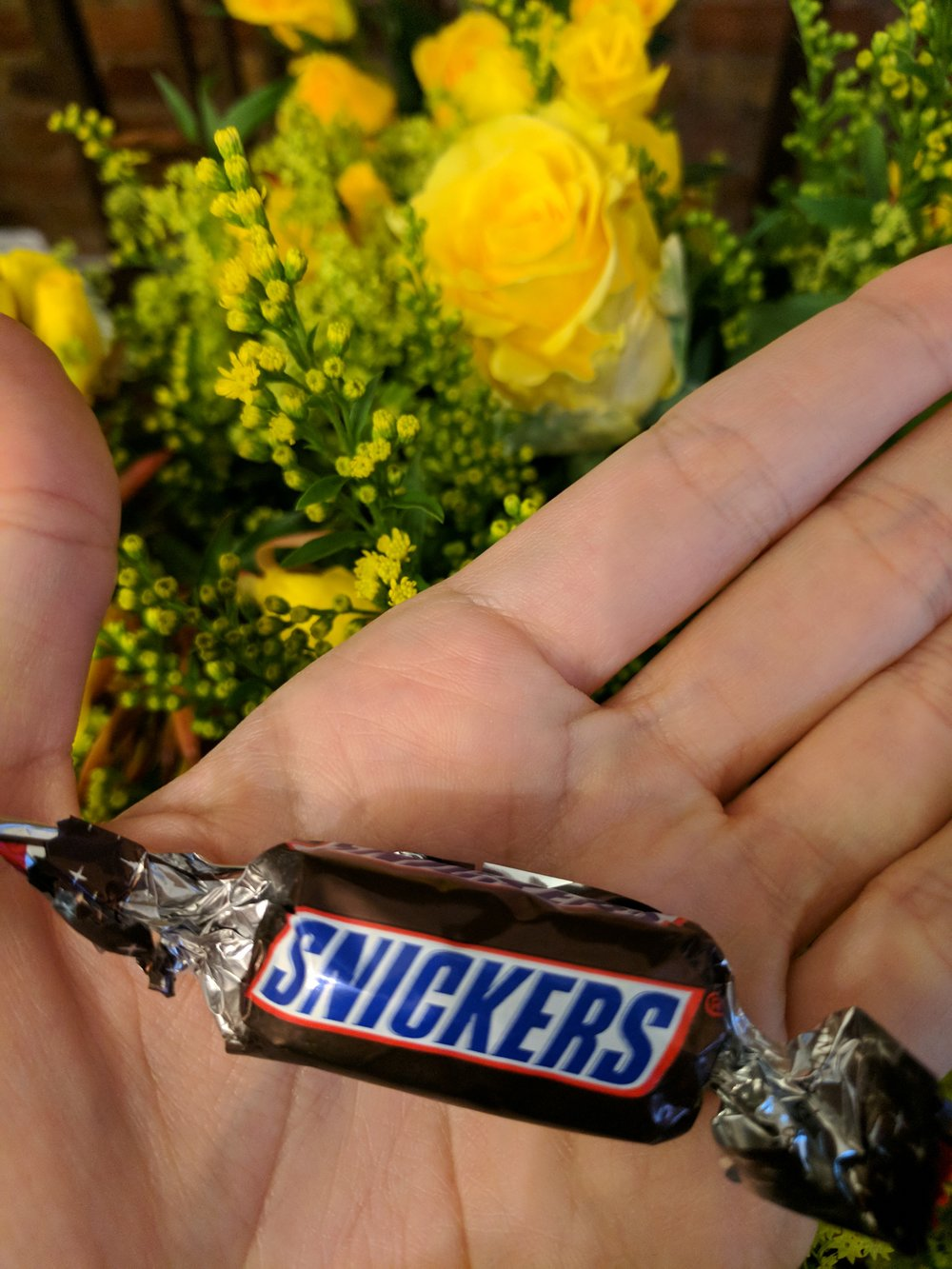 I haven't been able to eat my sweet thing today because I break down each time I try... I want to eat a Snickers, but that was Olivia's thing, not mine. Maybe I'll be able to eat a banana!
