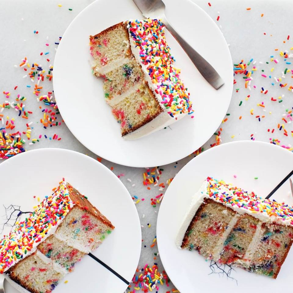 When we say Funfetti, all we mean is a moist vanilla cake with sprinkles baked inside for bursts of color!