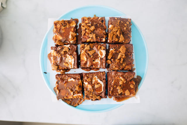 Top your brownies with your favorite flavors, like these s'mores brownies!