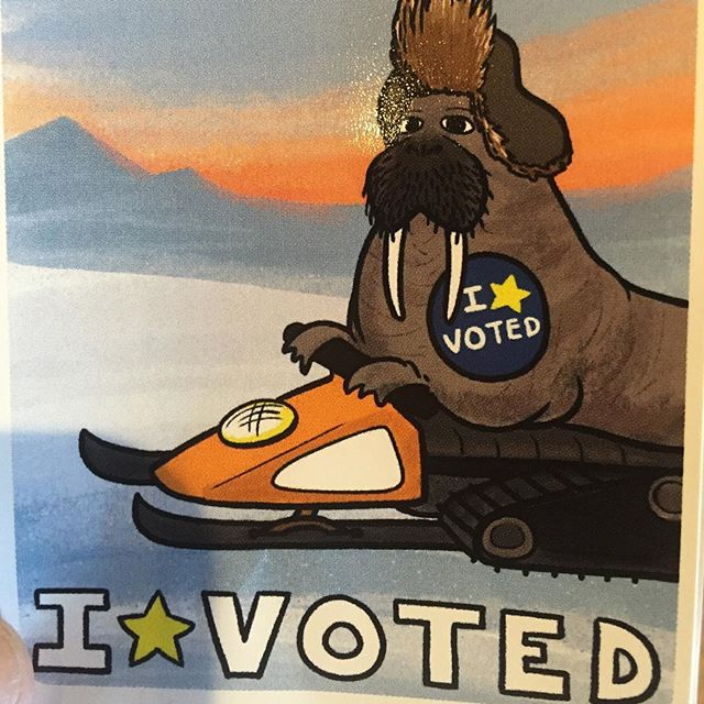 Early voted! So easy and scored this walrus sticker. #vote #alaska #walrus